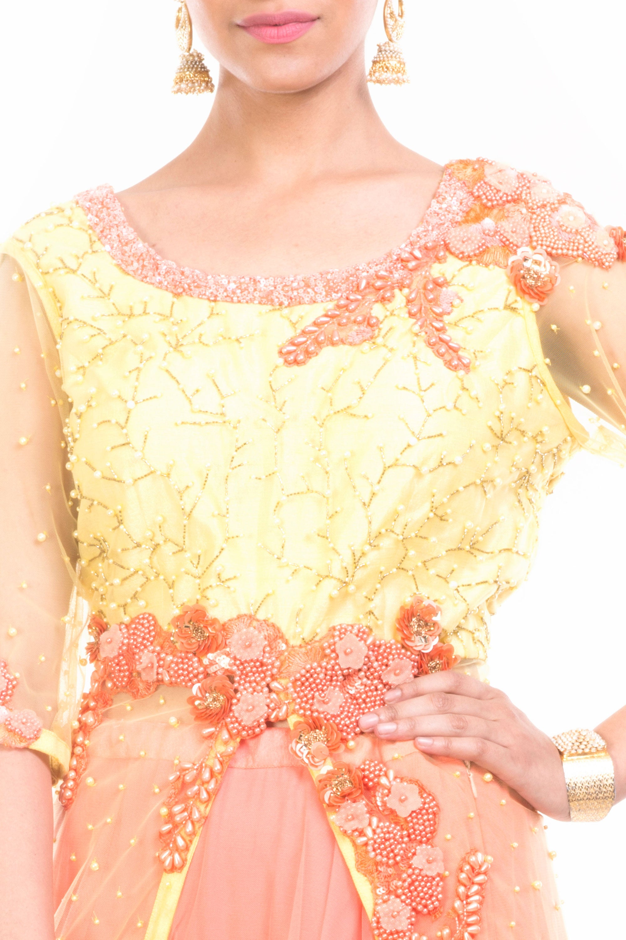 Lemon Strawberry Jacket Lehenga Closeup