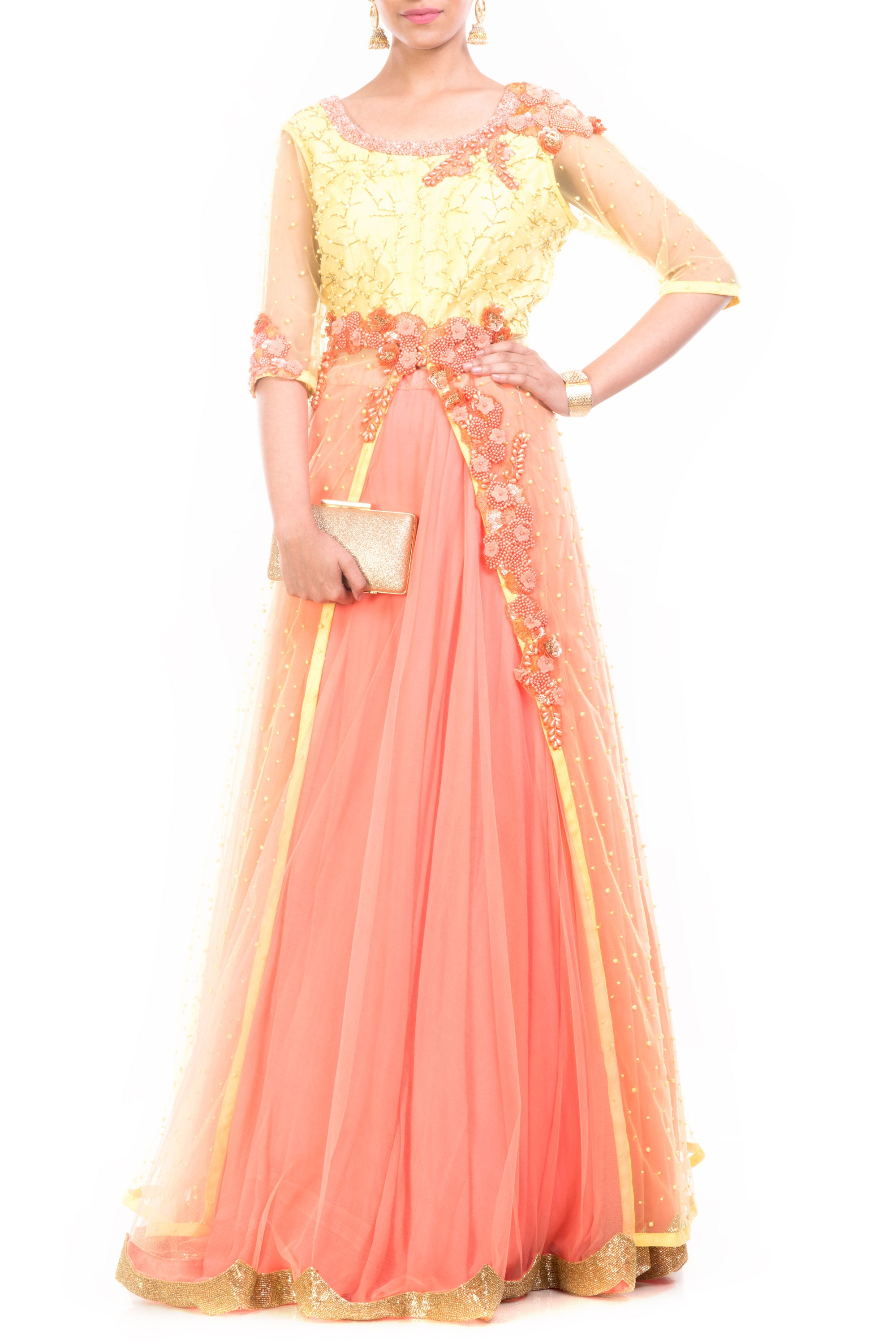 Lemon Strawberry Jacket Lehenga Front