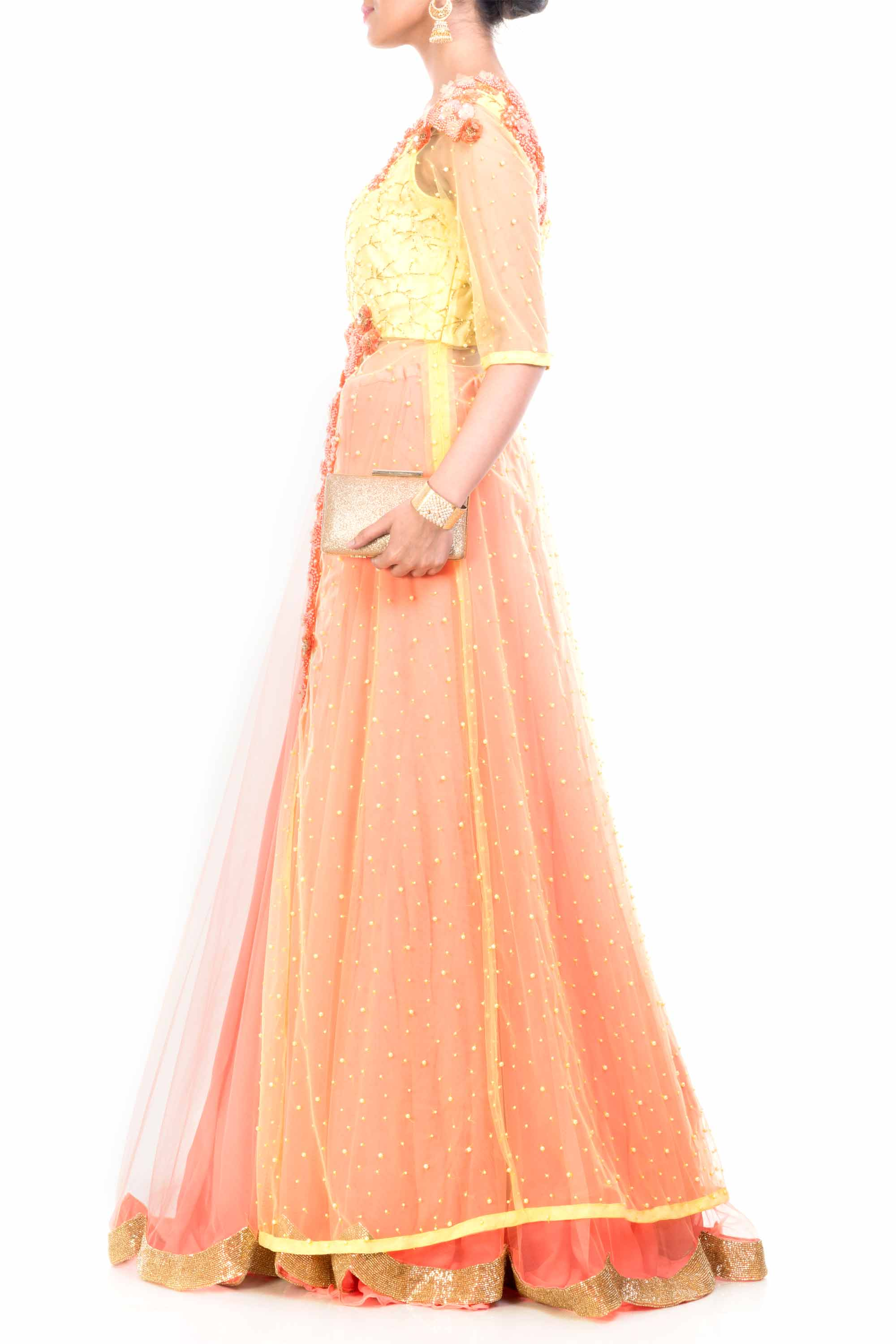 Lemon Strawberry Jacket Lehenga Side