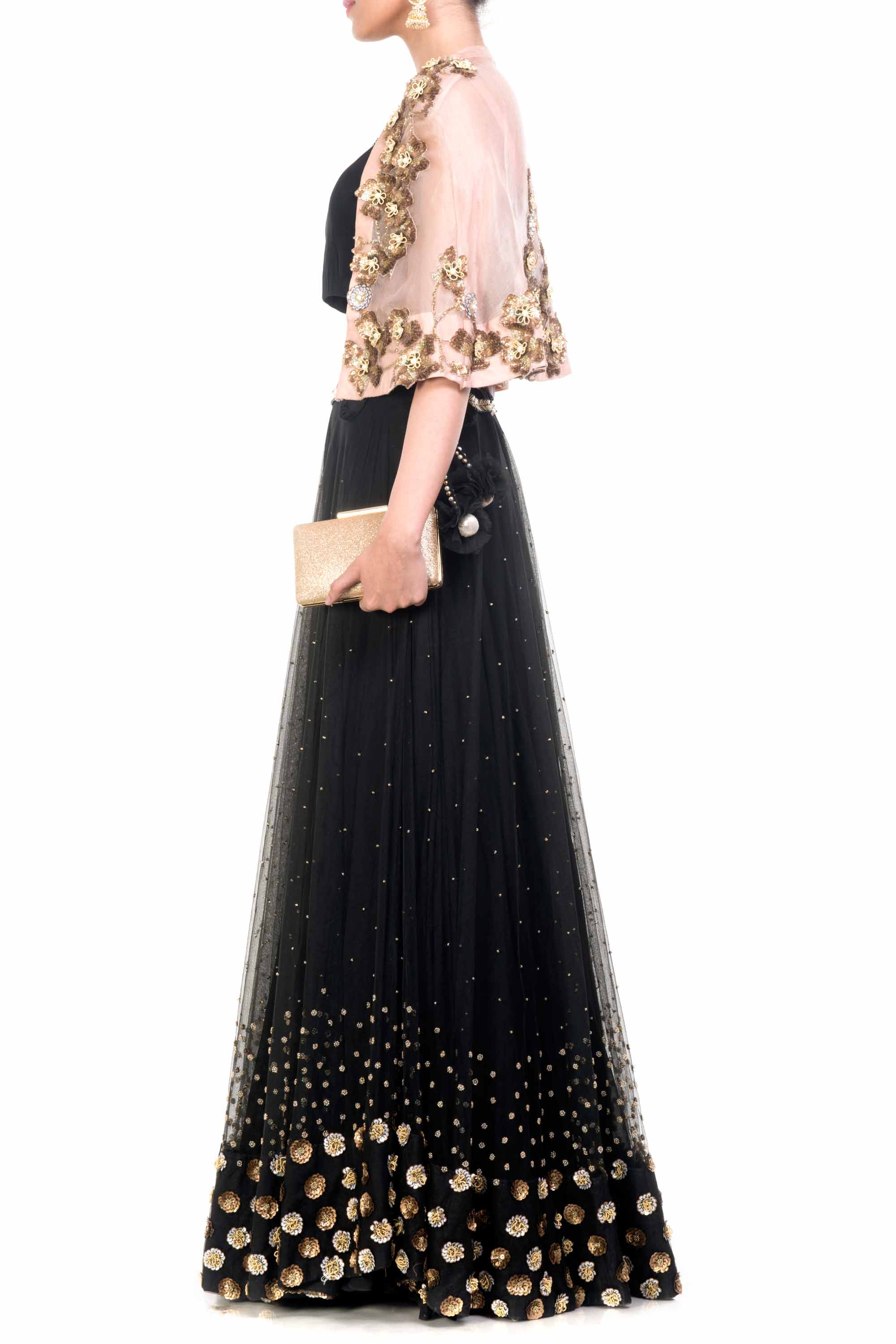 Black & Gold Cape Lehenga Side