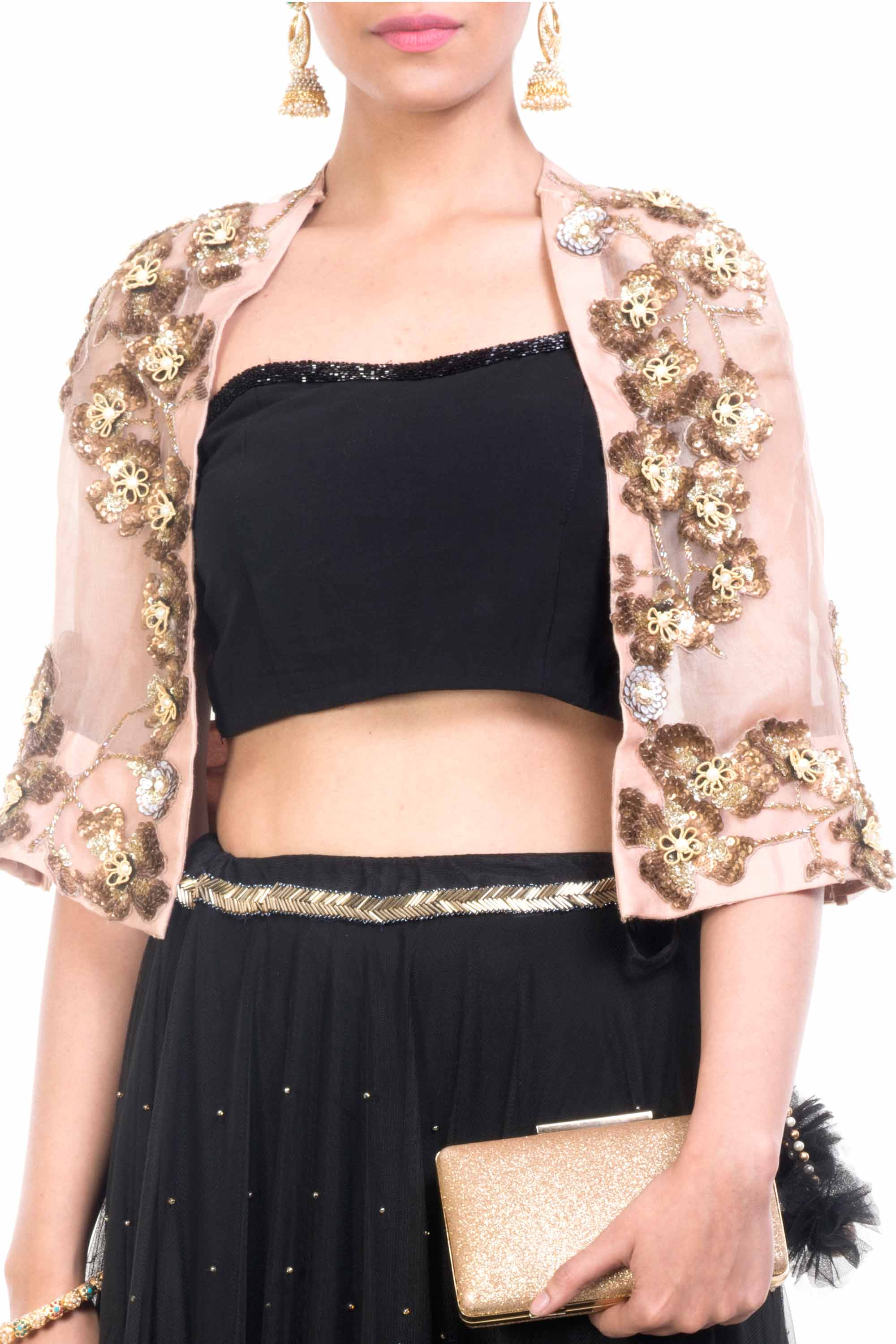 Black & Gold Cape Lehenga Closeup