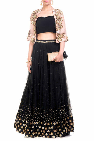 Black & Gold Cape Lehenga Front