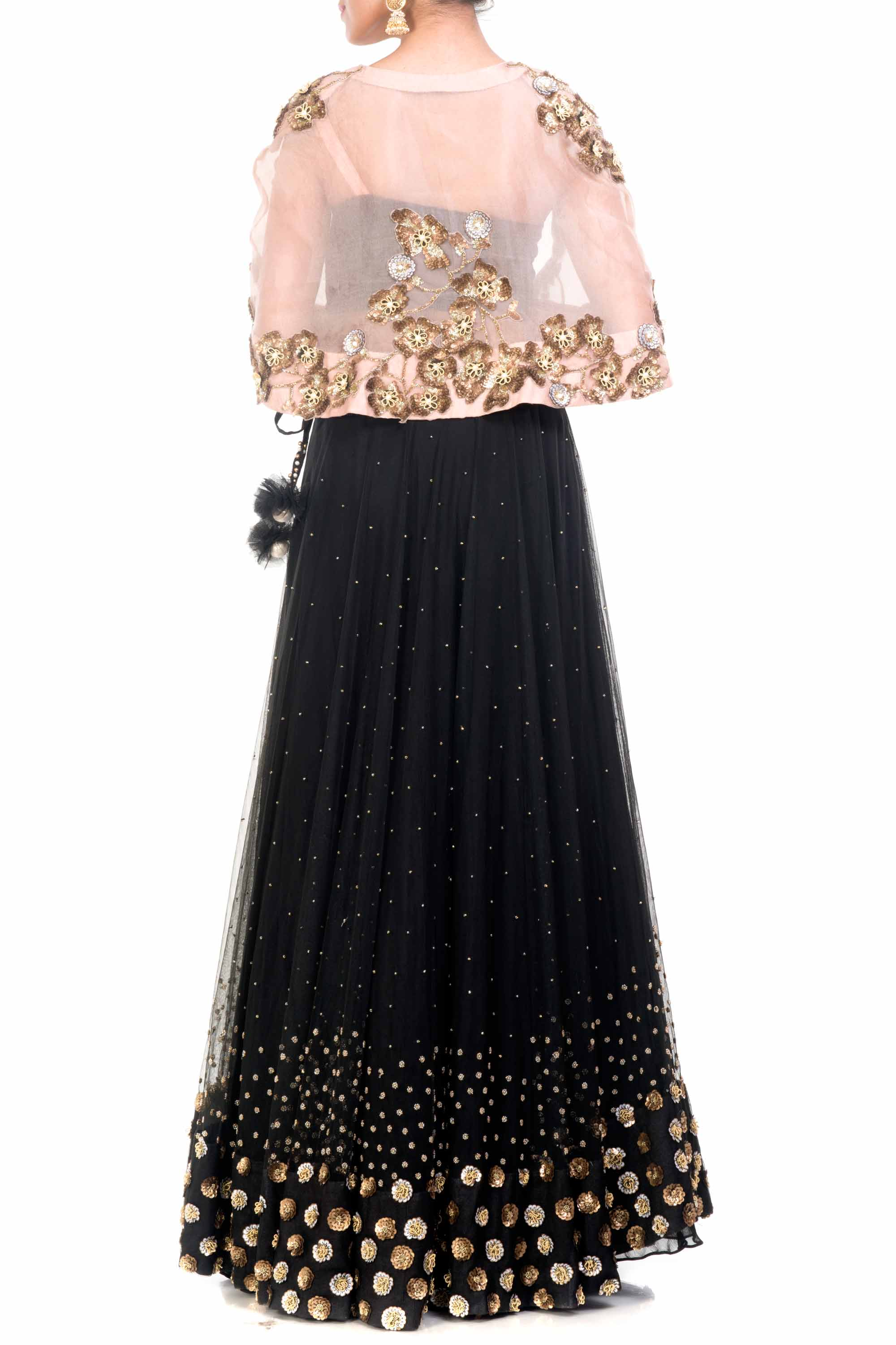Black & Gold Cape Lehenga Back