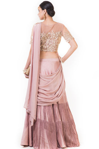 Pink Fringe Drape Lehenga with a Heavily Embroidered Blouse and Attached Dupatta