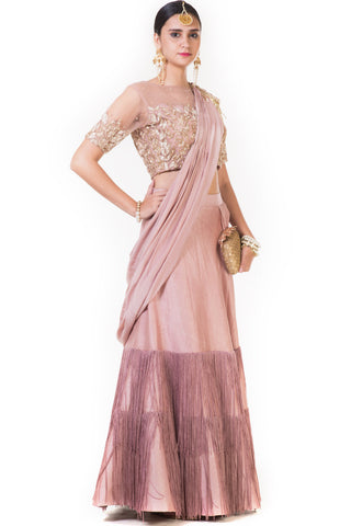 Pink Fringe Drape Lehenga with a Heavily Embroidered Blouse and Attached Dupatta Front