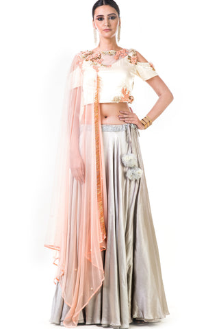 Off White Blouse With Light Grey Lehenga