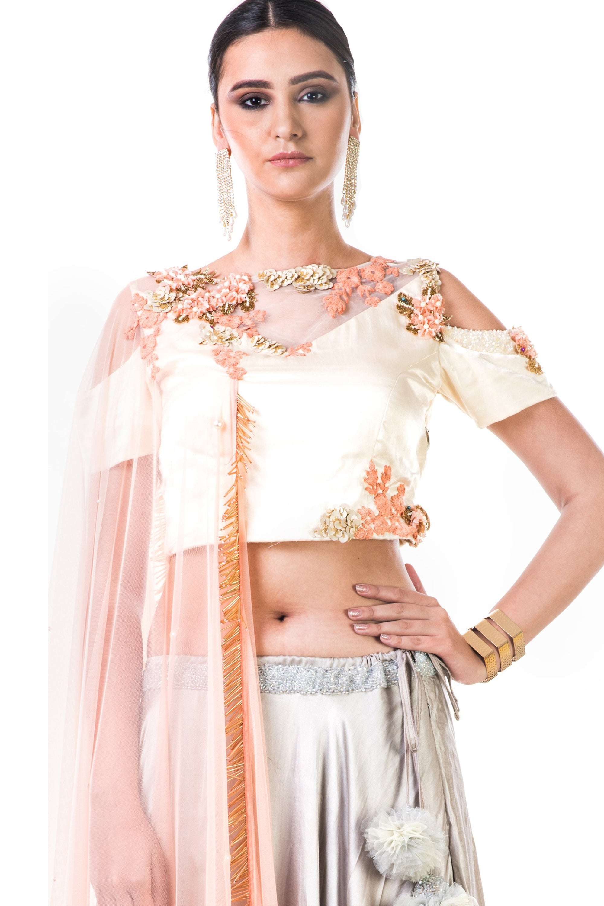 Off White Blouse With Light Grey Lehenga CloseUp