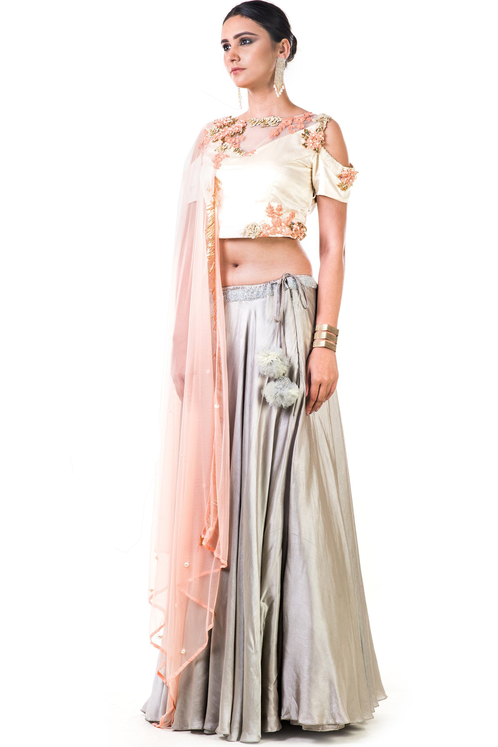 Off White Blouse With Light Grey Lehenga Side
