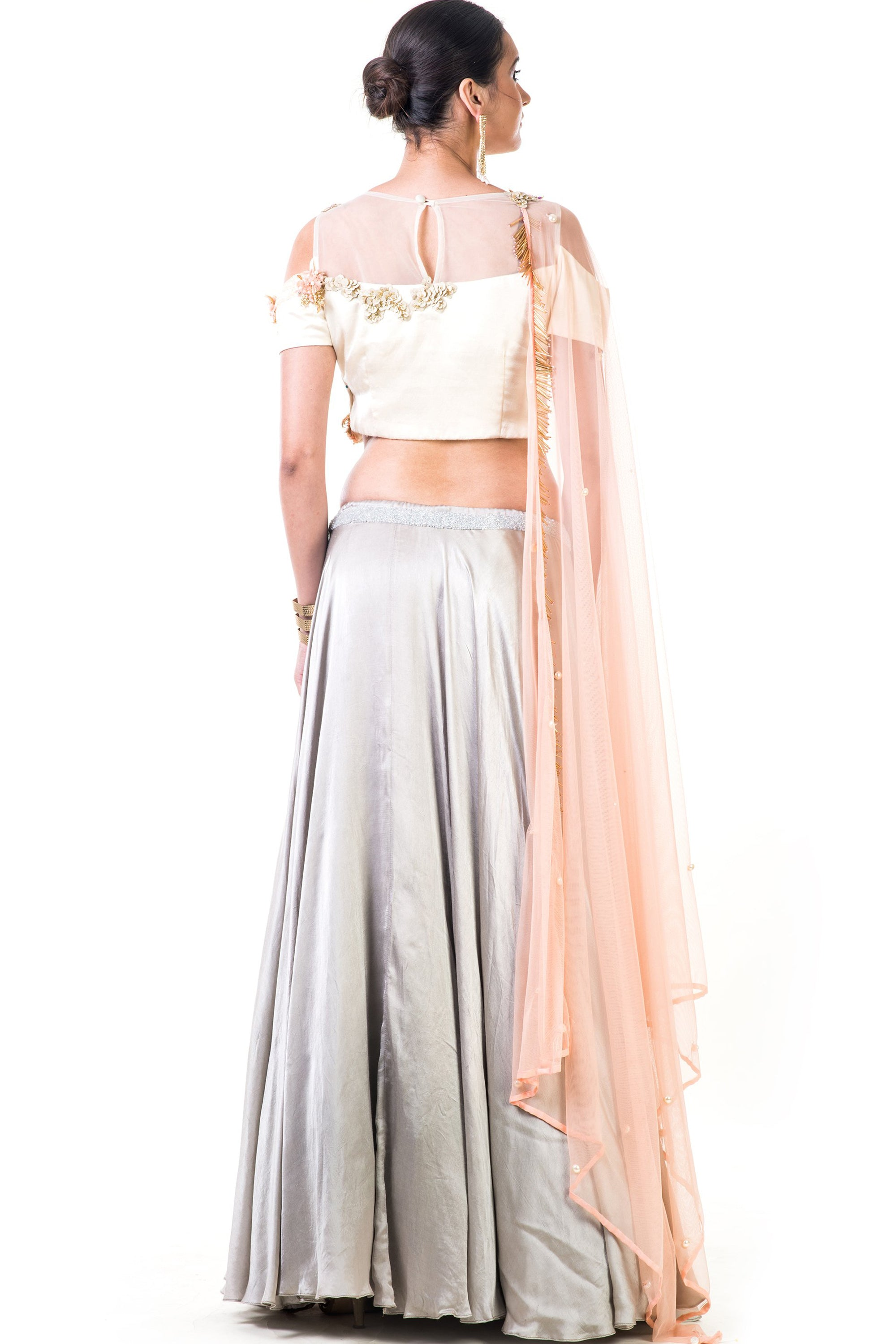 Off White Blouse With Light Grey Lehenga Back
