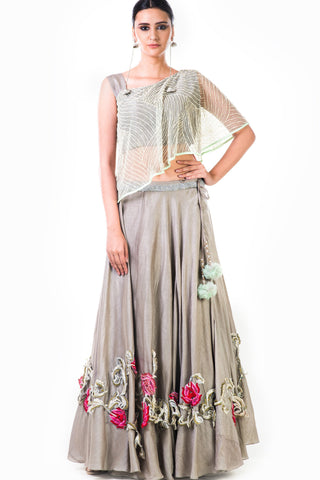One Shoulder Cape Style Grey Lehenga Front