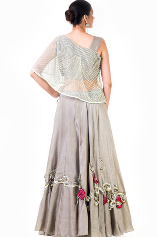 One Shoulder Cape Style Grey Lehenga