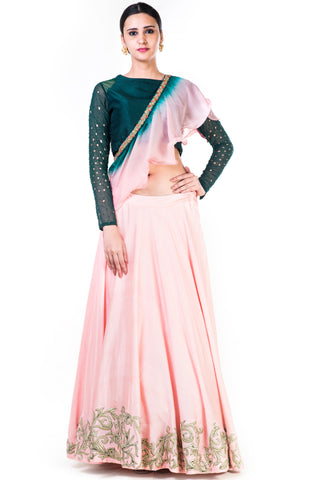 Hand Embroidered Bottle Green & Blush Pink Lehenga With Shaded Frill Dupatta Front