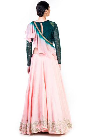 Hand Embroidered Bottle Green & Blush Pink Lehenga With Shaded Frill Dupatta