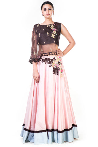 Hand Embroidered Brown & Blush Pink Asymmetrical Cape Lehenga Front