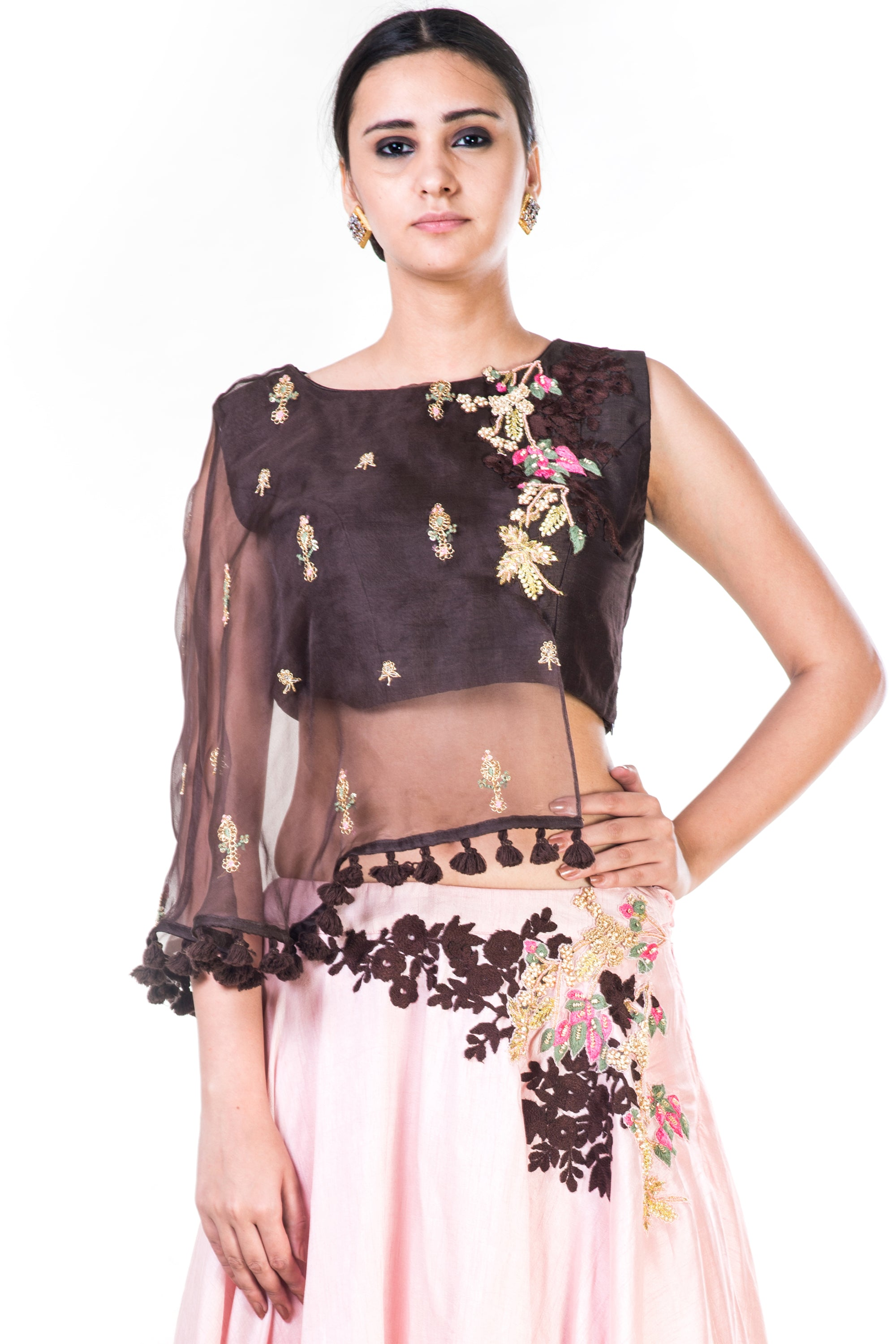 Hand Embroidered Brown & Blush Pink Asymmetrical Cape Lehenga CloseUp