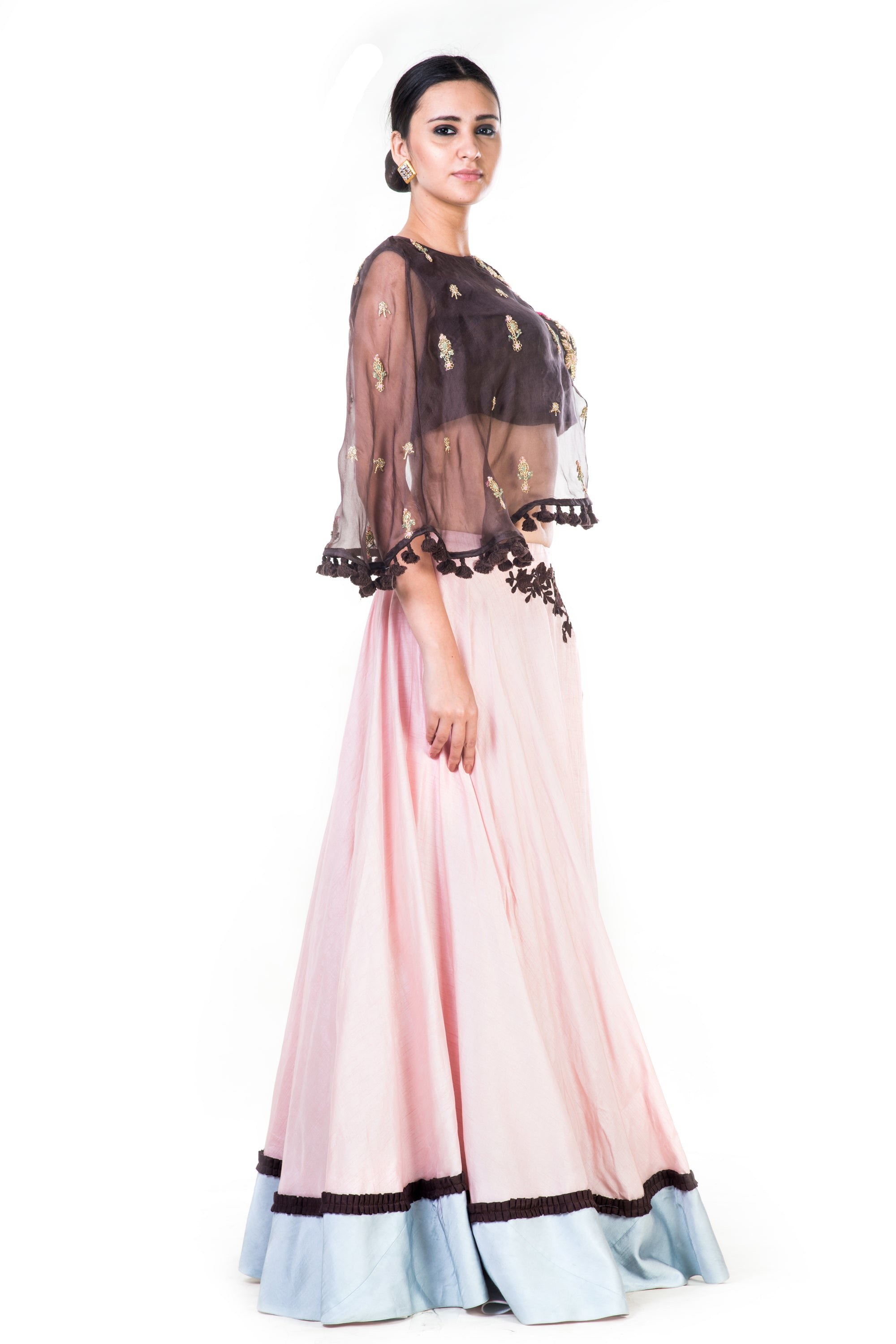 Hand Embroidered Brown & Blush Pink Asymmetrical Cape Lehenga Side