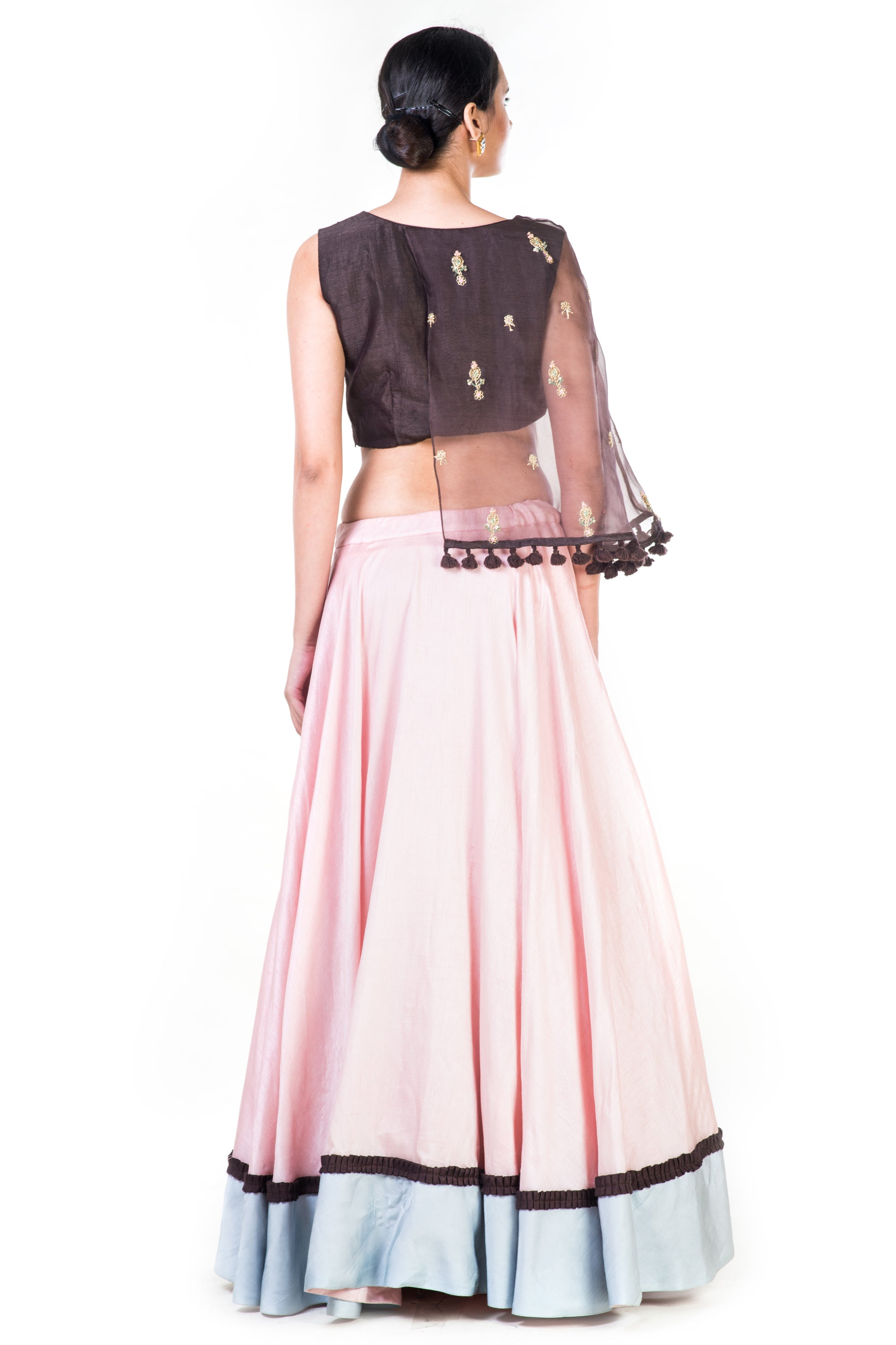 Hand Embroidered Brown & Blush Pink Asymmetrical Cape Lehenga Back