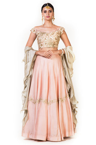 Hand Embroidered Dusty Peach Lehenga FRONT
