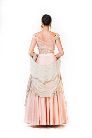 Hand Embroidered Dusty Peach Lehenga