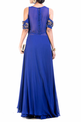 Cold Shoulder Blue Palazzo Sahara Set