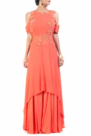 Cold Shoulder Bright Orange Palazzo Sahara Set Front