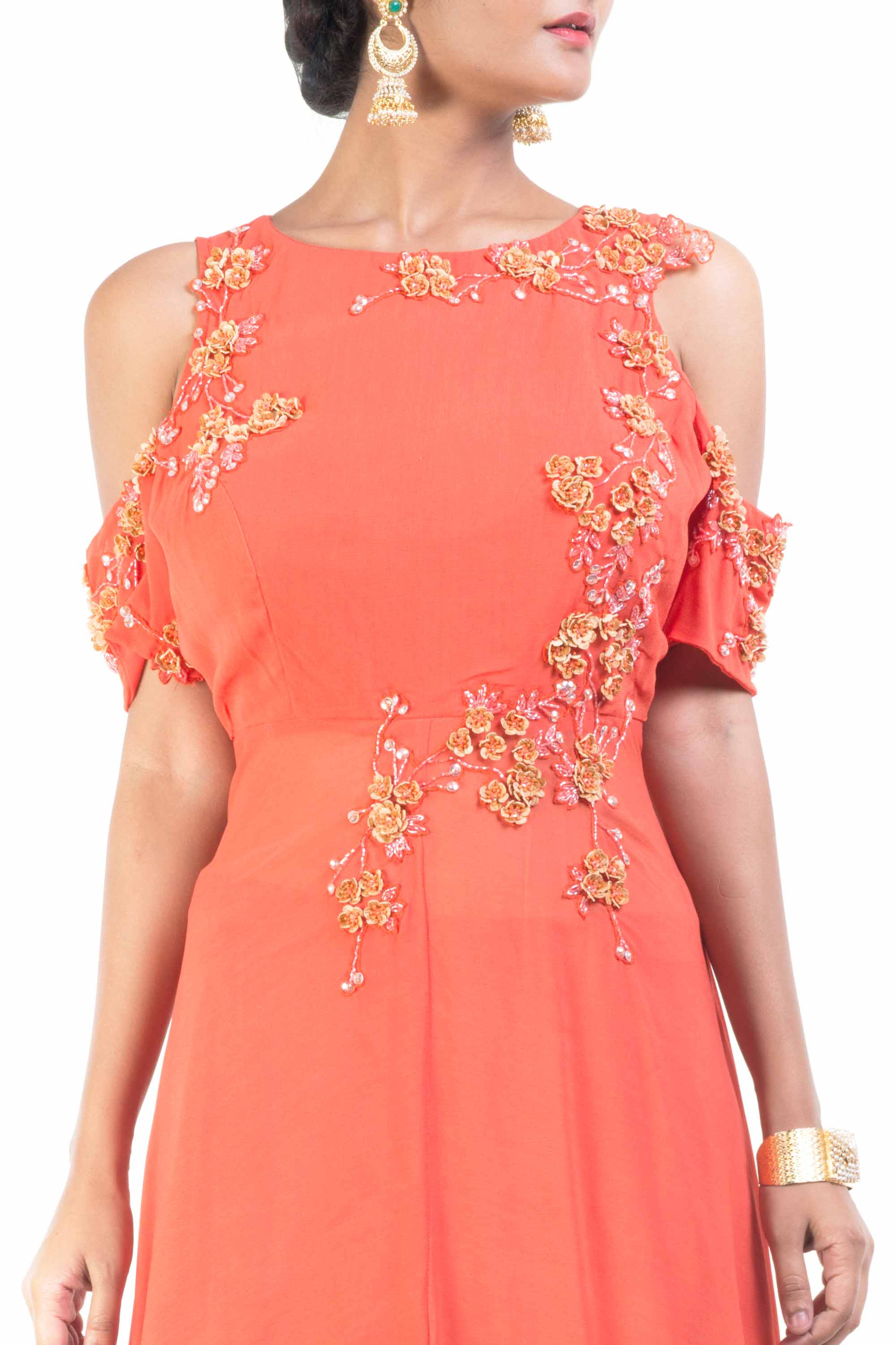 Cold Shoulder Bright Orange Palazzo Sahara Set Closeup