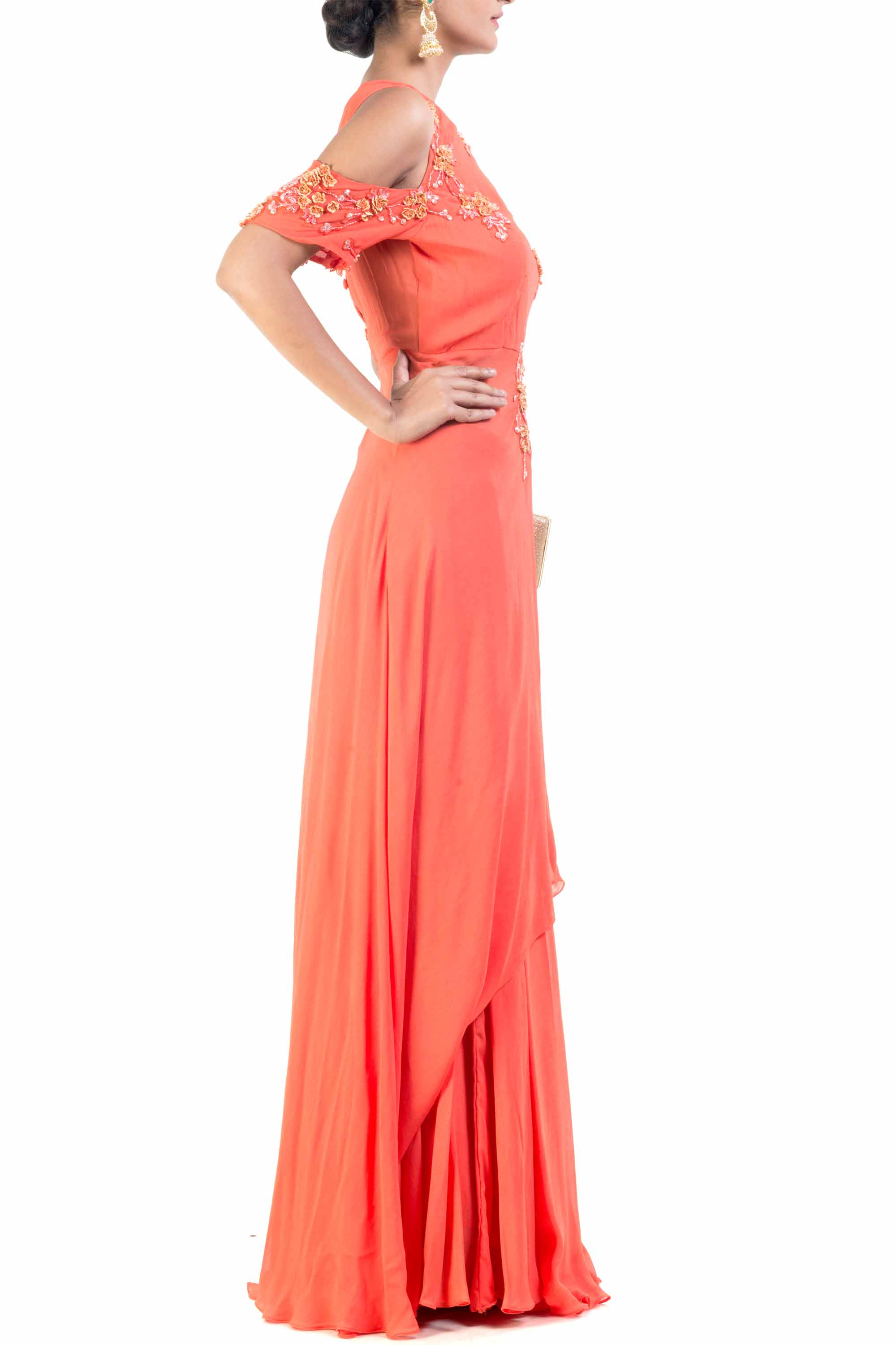 Cold Shoulder Bright Orange Palazzo Sahara Set Side