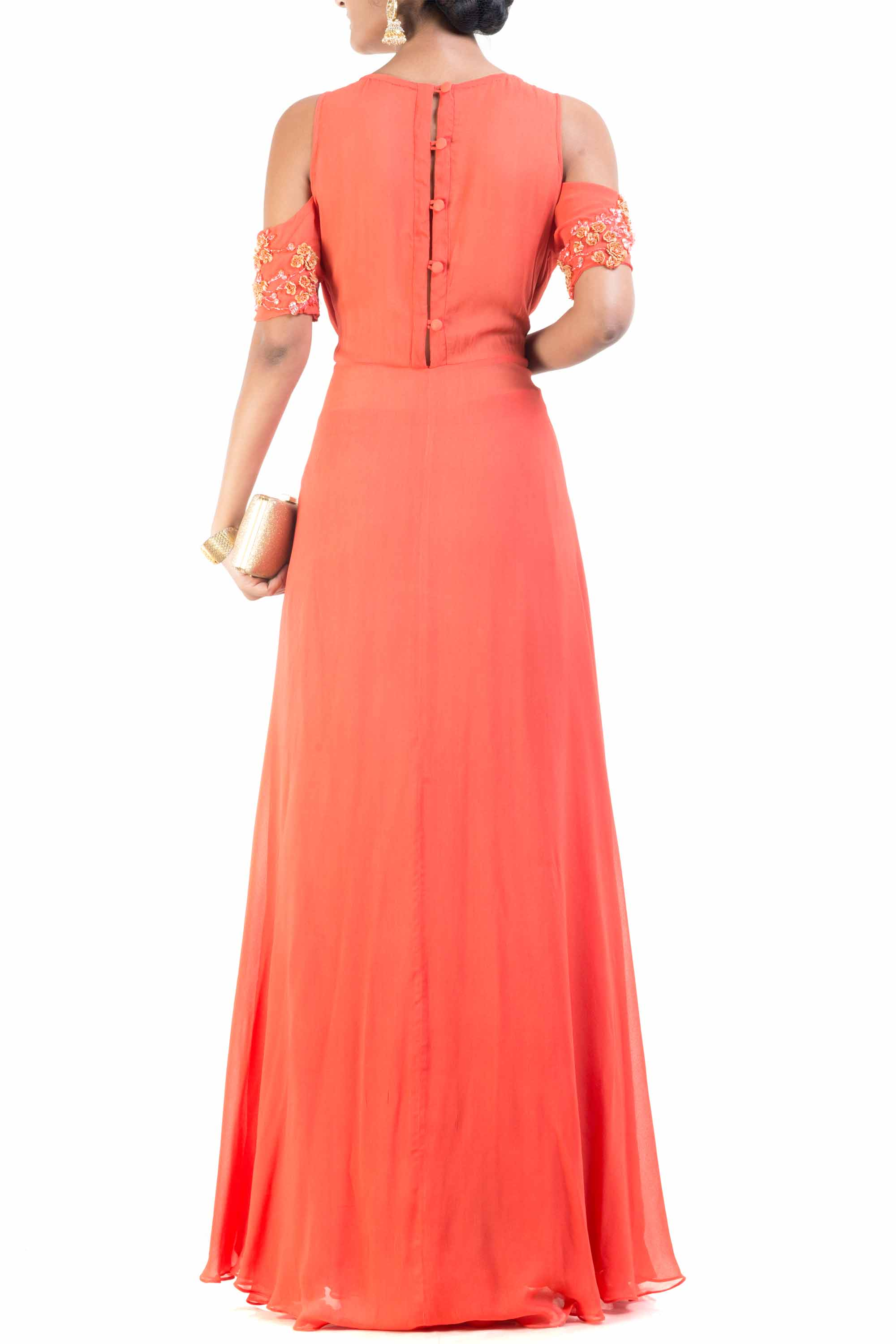 Cold Shoulder Bright Orange Palazzo Sahara Set Back