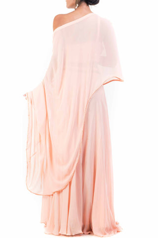Peach Drop Shoulder Palazzo Set