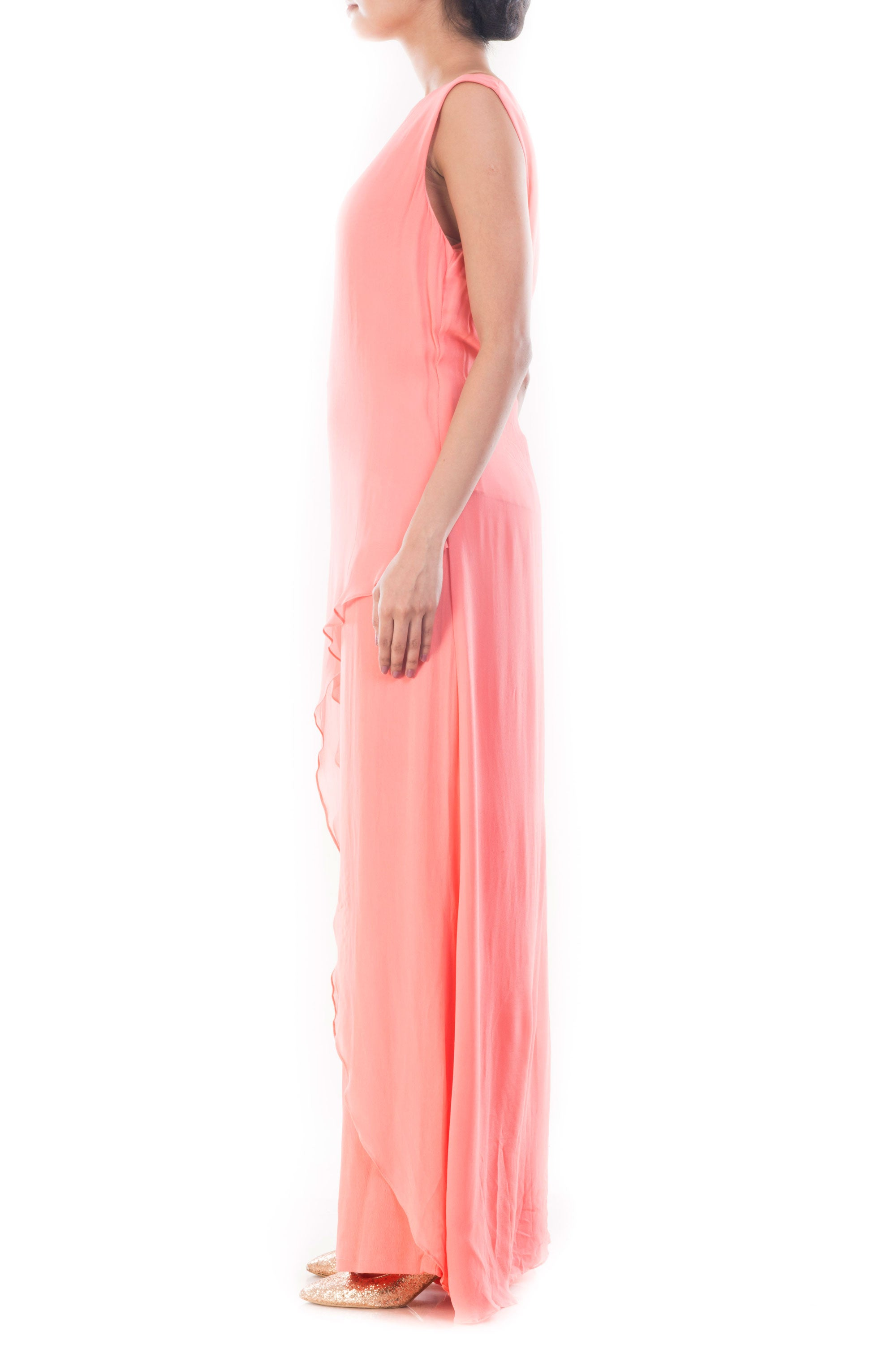 Coral Pink Palazzo Set Side