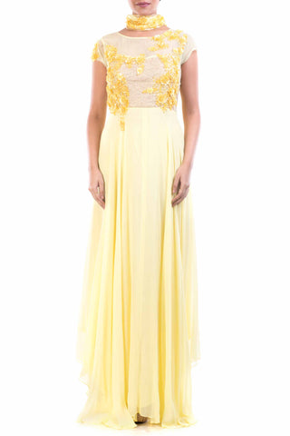Lemon Yellow Georgette Suit Front