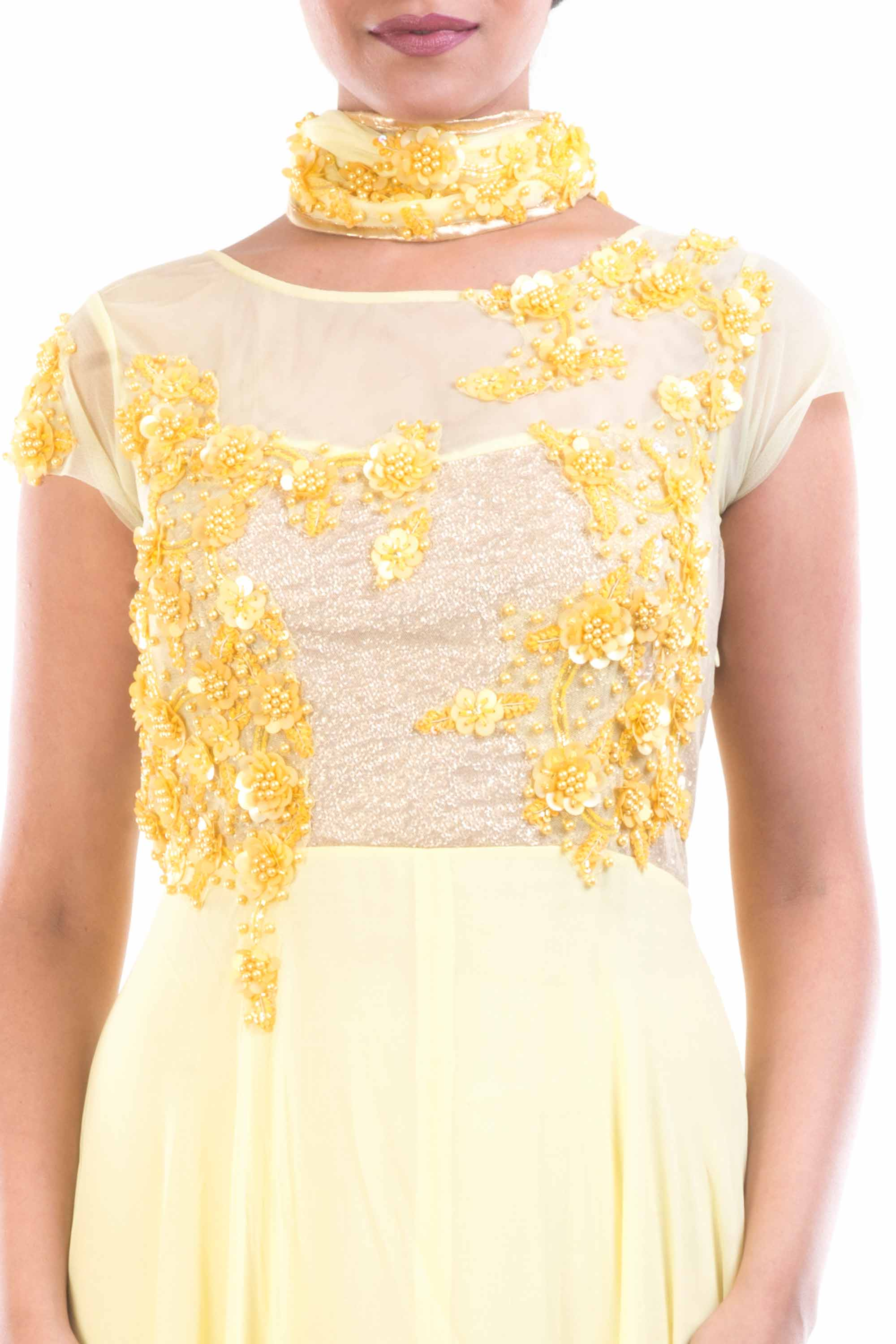 Lemon Yellow Georgette Suit Closeup