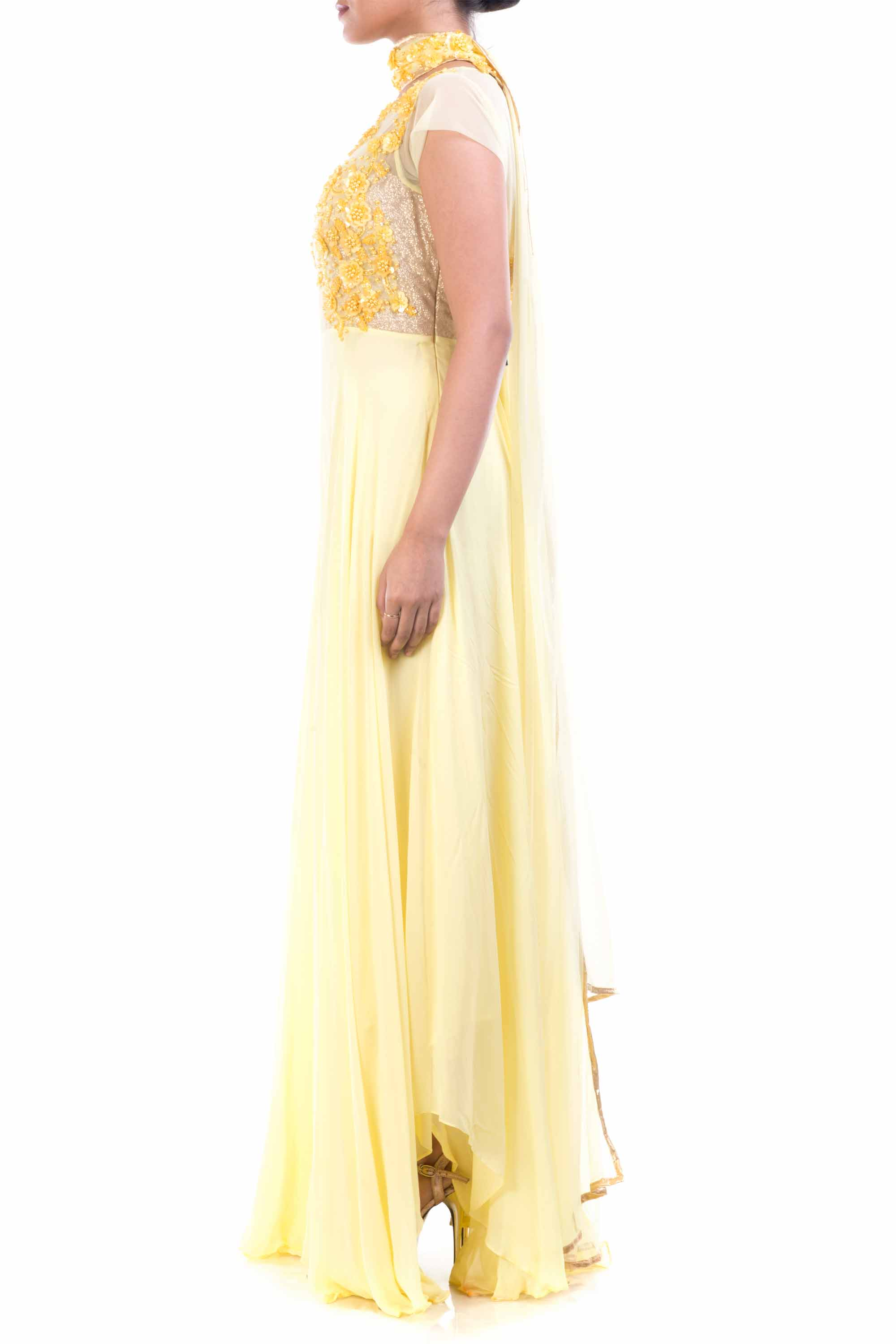 Lemon Yellow Georgette Suit Side