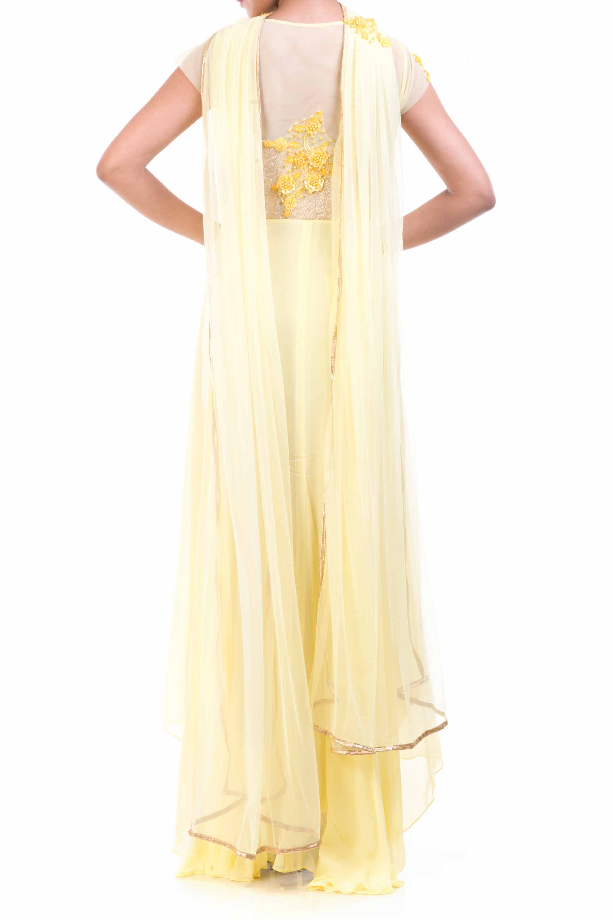 Lemon Yellow Georgette Suit Back