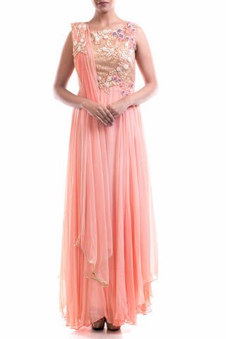 Peach Embellished Suit Set Front