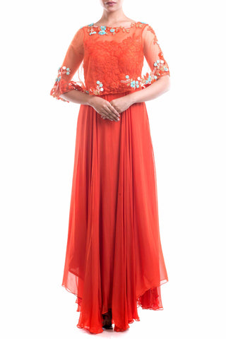Rust Orange Embellished Cape Style Suit Front
