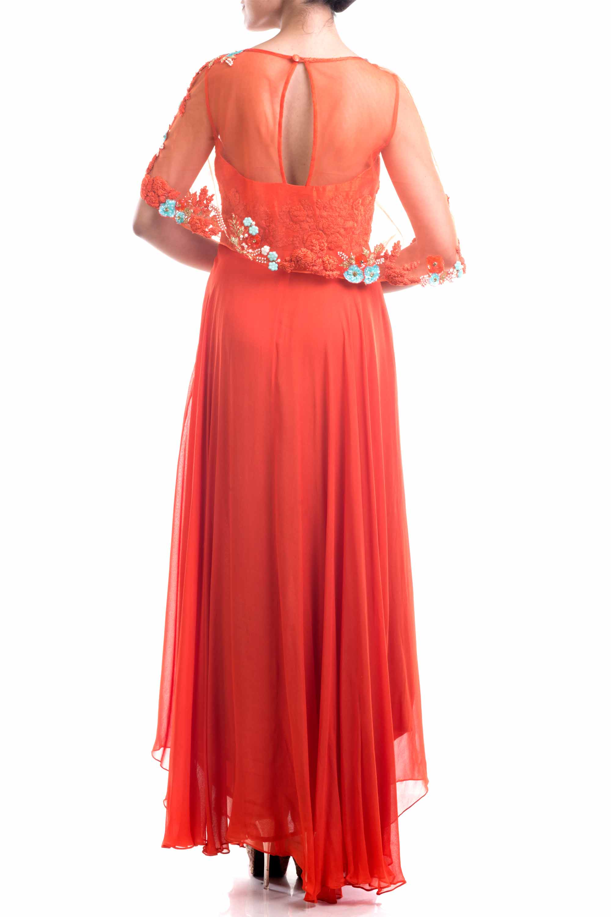 Rust Orange Embellished Cape Style Suit Back