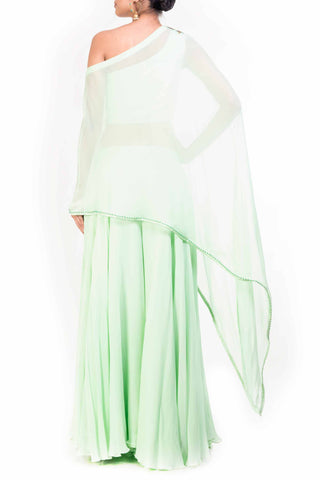 Mint Green Drop Shoulder Palazzo Set