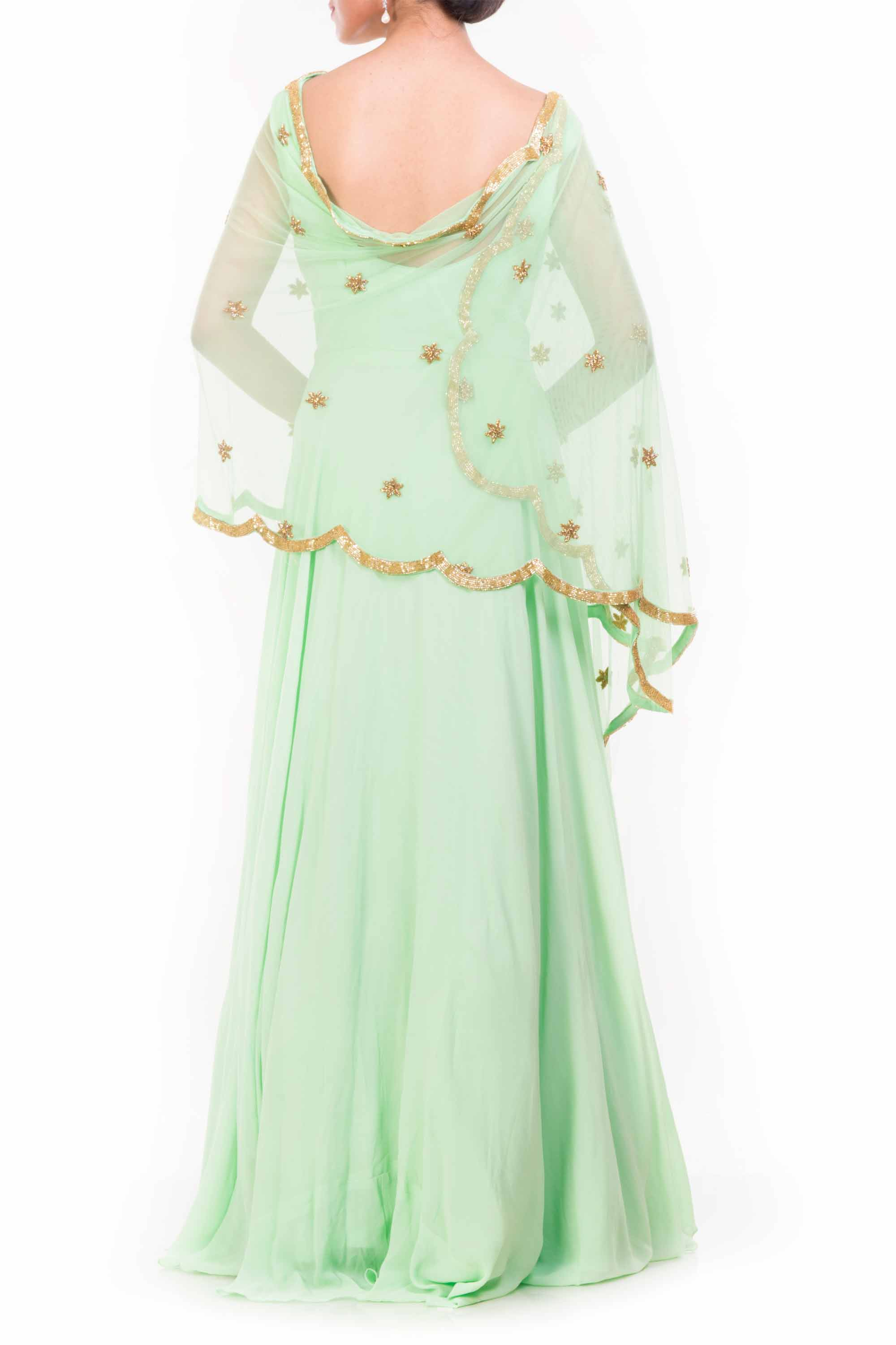 Lime Green Cape Dupatta Suit Back