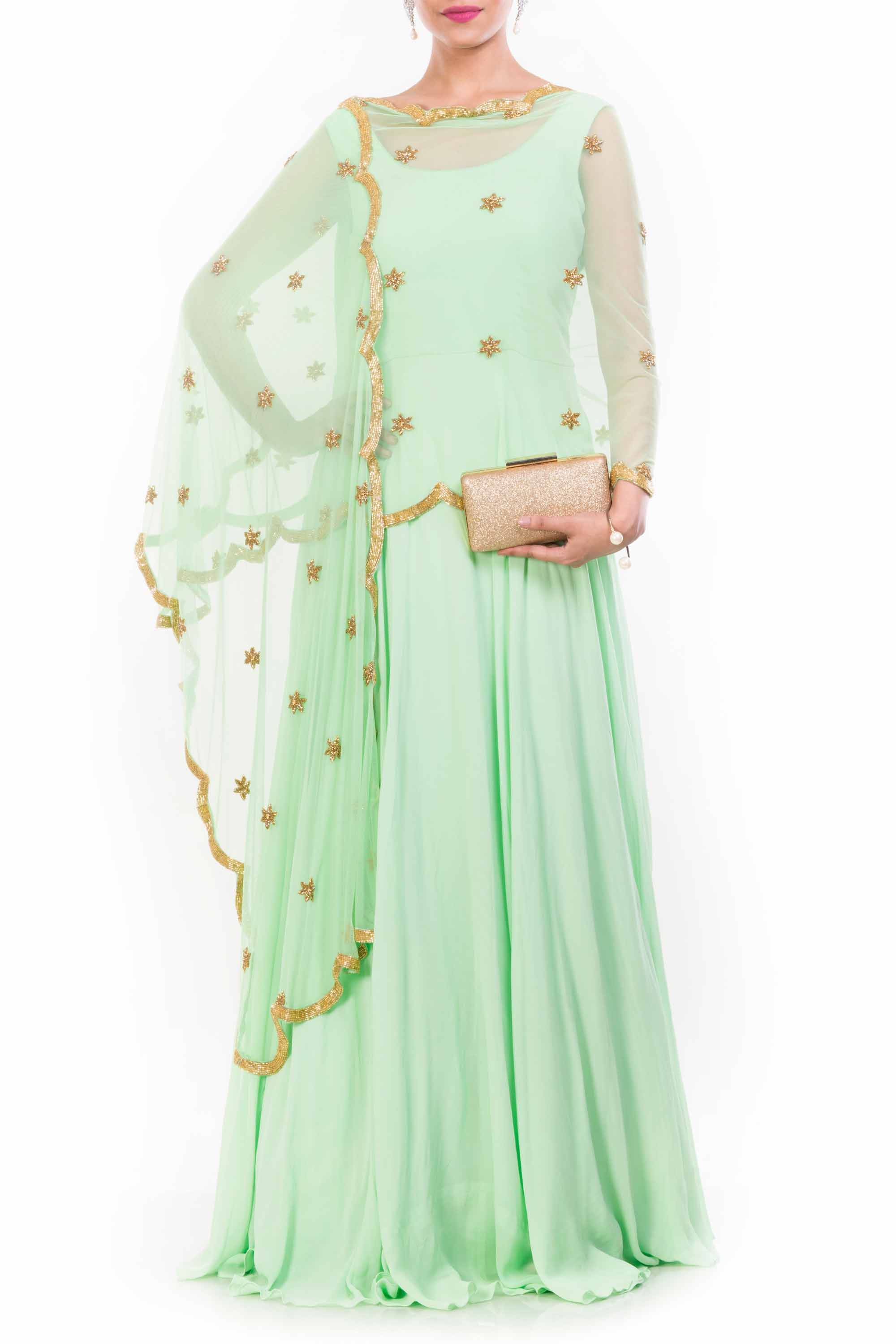 Lime Green Cape Dupatta Suit Front