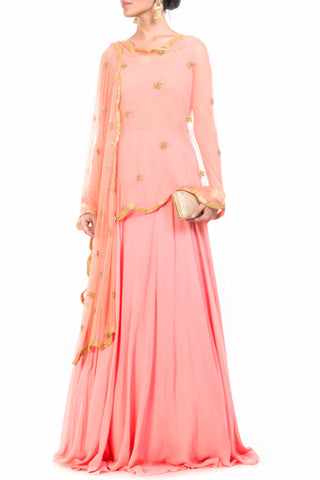 Peach Cape Dupatta Set Front