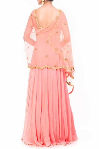 Peach Cape Dupatta Set