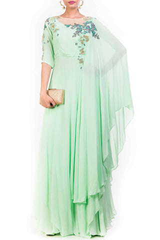 Attached Dupatta Palazzo Set Front