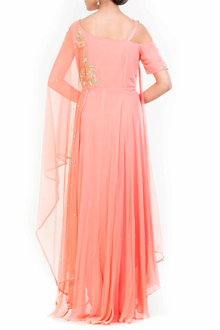 Peach Drop Shoulder Drape Dupatta Suit