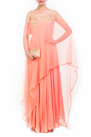 Peach Drop Shoulder Drape Dupatta Suit Front