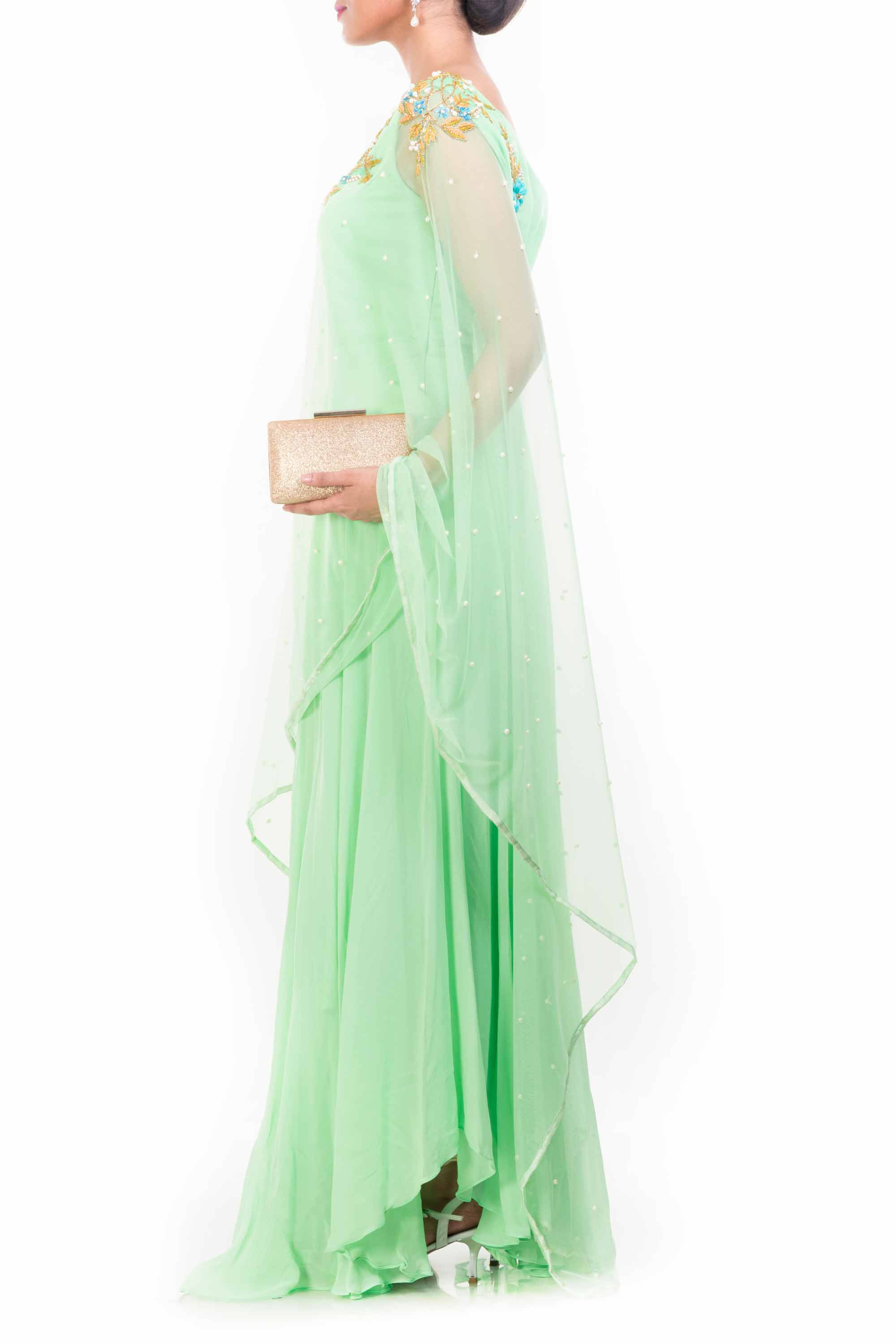 Lime Green Drop Shoulder Drape Dupatta Set Side