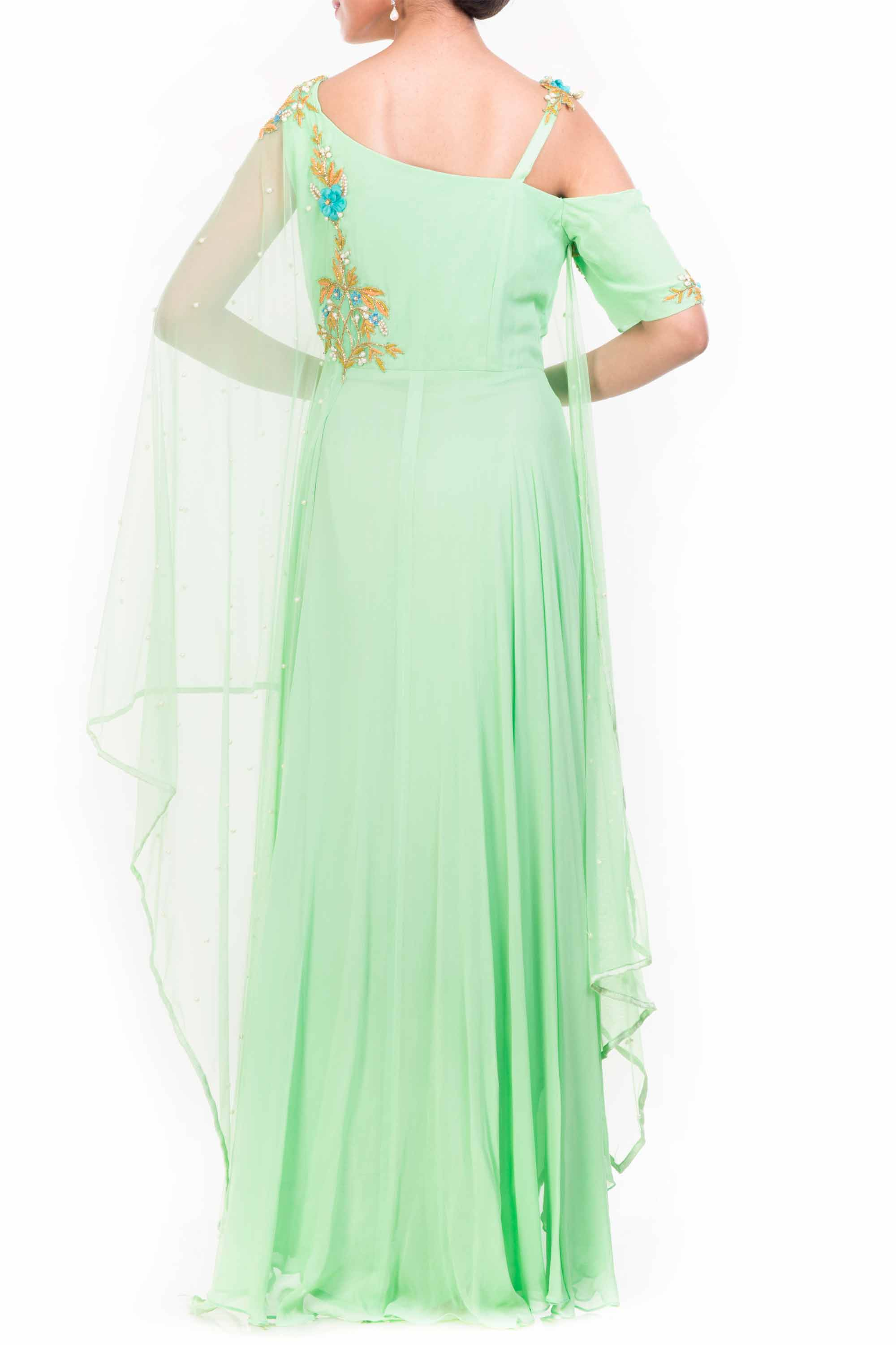 Lime Green Drop Shoulder Drape Dupatta Set Back