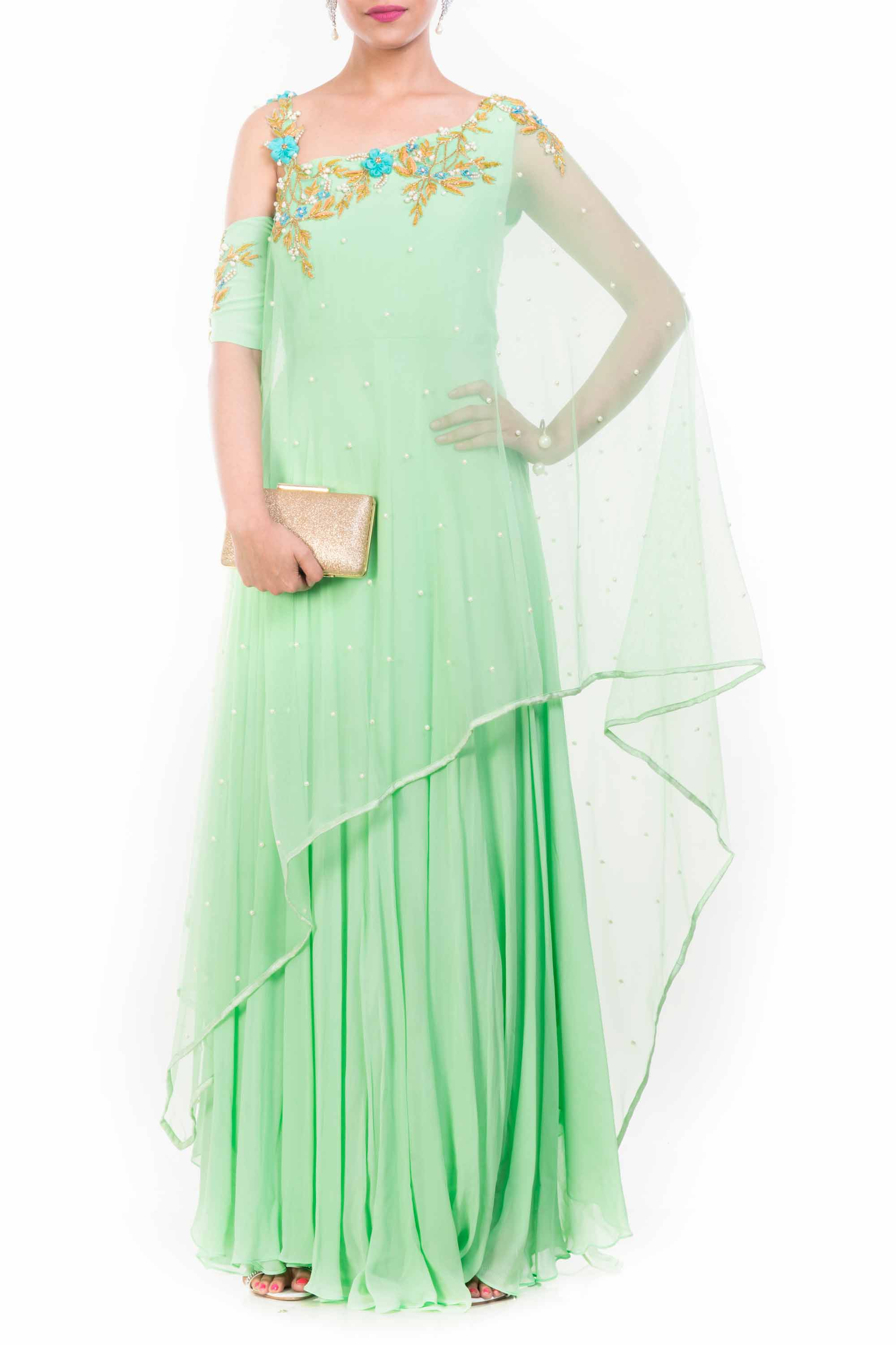 Lime Green Drop Shoulder Drape Dupatta Set Front