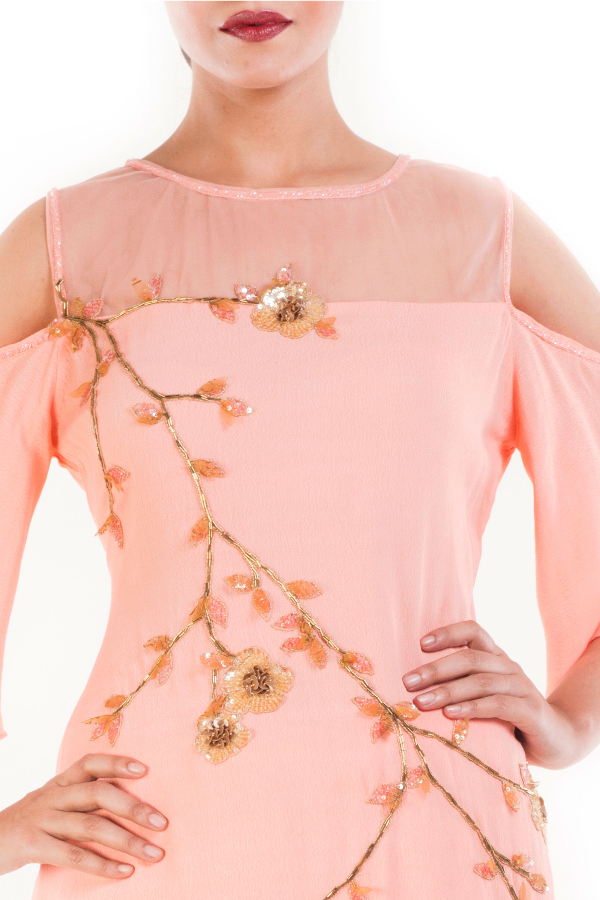 Apricot Cold Shoulder Palazzo Set Closeup