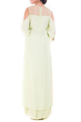 Mint Green Cold Shoulder Palazzo Set